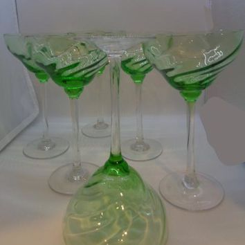 Large Green Swirl Crystal Cocktail Glasses  S/6