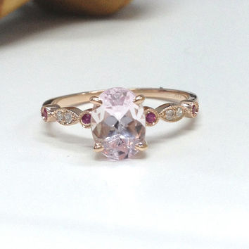 Morganite Engagement Ring 14K Rose Gold!6x8mm Oval Cut Pink Morganite,Art Deco Antique,Ruby Diamond Promise Ring,Wedding Bridal Ring
