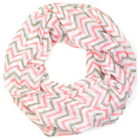 East Point Pink Chevron Infinity Scarf
