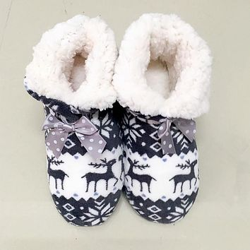 Winter Warm House Indoor Shoes Lovely Reindeer Pattern Plush Indoor Cotton Shoes Bota With Bow Non-slip EVA Sole Floor Slippers