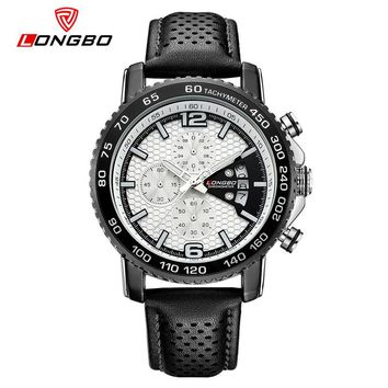 Chronograph Sports Military Leather Army Analog Date Calendar Quartz Watches Waterproof Wrist Mens Watches