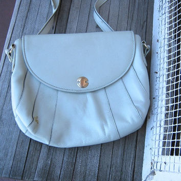 Light Grey Leather Shoulder Bag - Rounded Grey Leather Bag with Adjustable Strap; Made in Italy - Medium Grey Leather Purse