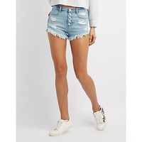 Refuge Hi-Rise Cheeky Destroyed Denim Shorts | Charlotte Russe