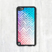 Mint Purple & Coral Chevron iPod 5 case, Abstract iPod 5 touch case, iPod 5 cover