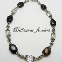 Bali Silver Beads, Natural Stones and Swarovski Crystal High Fashion Necklace, Chunky, Enduring, Elite
