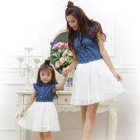 Mother Daughter Dresses 2017 Summer Family Clothing Mom and Daughter Dress Family Matching Outfits Dress for Kids and Women