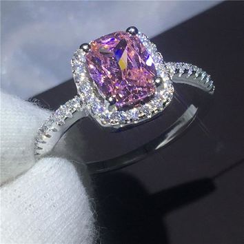 Fashion ring cushion cut Mutil 5A Zircon Crystal 925 Sterling silver Engagement wedding band rings for women Festival jewelry