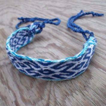 weaving colorful bracelet, card weave woven friendship bracelet, patterned blue white wrist band, handmade wrist cuffs, boho ethnic jewelry