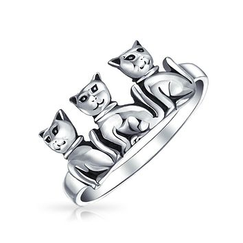 Three Best Friends Family Kitten Cat Ring Band 925 Sterling Silver