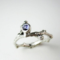 Iolite & Diamond Silver Twig Ring