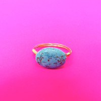 Ships Free! Turquoise Round Natural Stone Gold Wire Wrapped Ring- Great Gift Idea for birthdays, bridesmaids, and more!
