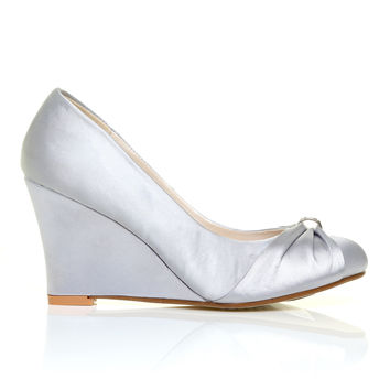 EDEN Silver Satin Wedge High Heel Bridal Court Shoes