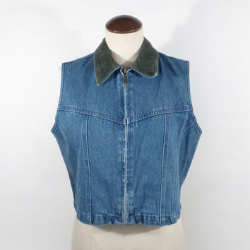 Jean Denim  vest Vintage 1990s AMI Zip Tailored Blue Women's size L
