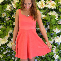 Dixon Coral Textured Sweetheart Dress