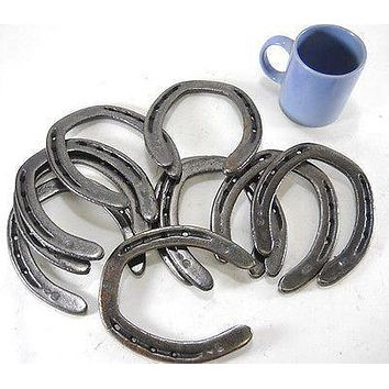 HS2 - 10 pc New Cast Iron Authentic Horseshoes for Crafting Western Decor Barn