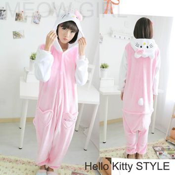 Hello Kitty - Pajamas Anime Onesuit Cosplay Costume Unisex Sleepwear Party Nightgown with Pockets