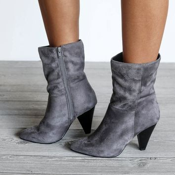 Some Of Us Faux Suede Steel Gray Heel Bootie