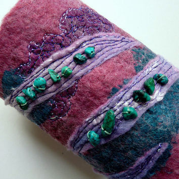 Womens Fashion Cuff Felted Wool Cuff Wearable Art by sesenarts
