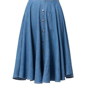 Casual Denim Elastic Waist Single Breasted Light Wash Flared Midi Skirt