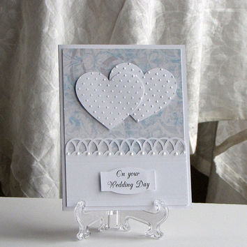 Double heart, wedding Card, on your wedding day, elegant, custom, blue and white, two hearts, wife, husband, handmade, greeting card