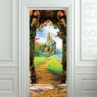 Door STICKER castle cave cavern grotto mural decole film self-adhesive poster 30x79inch(77x200 cm)