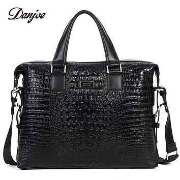 Male Business Bag High Quality Leather Men Briefcase Genuine Leather Handbag Crocodile Trendy Computer Laptop Bag Totes