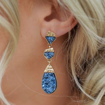 Evening Encounter Earrings - Navy