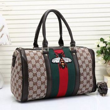 GFON Gucci' Classic Fashion Multicolor Bee Embroidery Canvas Boston Pillow Handbag Women Single Shoulder Messenger Bag
