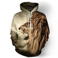 New Hipster KING OF LIONS Print 3d Hoodie punk Women Men Sweatshirts Jumper Outfits Casual Sweats