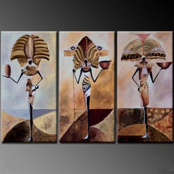 Handpainted Abstract Africa People Oil Paintings On Canvas Home Decor Wall Art Indian People Pictures 3 Panel Figure Painting