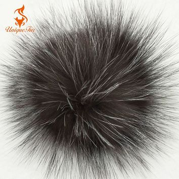 Women Real Silver Fox Fur Pompom Fur Pom Poms Ball Hats Caps Big Natural Fur Pompon Ball For Shoes Hats Bags Accessories 15cm