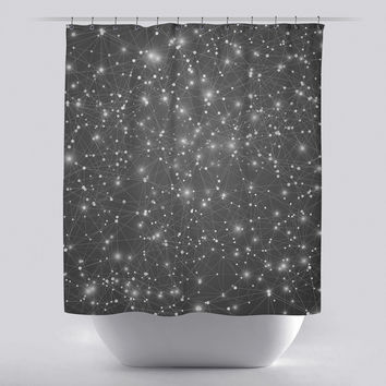 Unique Shower Curtain - Logic Geometric Web by Soaring Anchor Designs