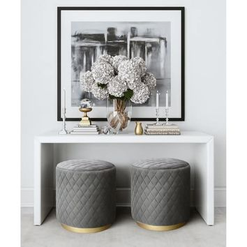 Abir Grey Velvet Ottoman | Overstock.com Shopping - The Best Deals on Ottomans