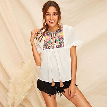 Tassel Detail Tie Neck Tribal Embroidery Top Boho Blouse Women Flounce Sleeve Casual Cute Tops Blouse