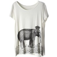 Magic Pieces Women's Elephant Wearing Crown Printed Round Neck T Shirt 061101 T0702
