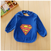 Cute Superman Long Sleeved Infant Baby Dribble Feeding Teething Bib = 1946007364