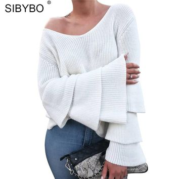 Flare Sleeve Loose Women Knitted Sweater Autumn Winter New V-Neck Long Sleeve Pullover Sweater Women Casual Sueter Mujer
