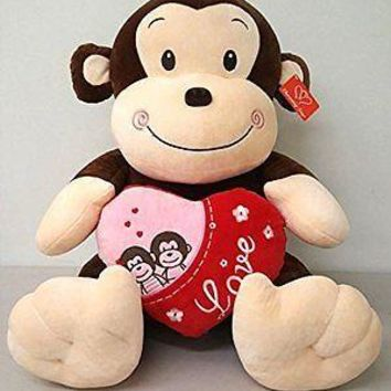 "Valentine's 14.5"" Monkey with heart & sound -Best Valentine's Day Gifts-Mother's"