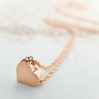 Rose Gold Necklace Love necklace Gold heart necklace Cute necklace Charm necklace Gift mom Birthday Gift best friend Birthday Gift sister
