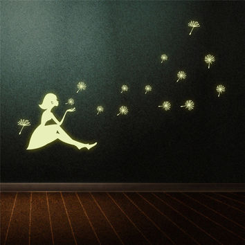 Dandelion Girl luminous Stickers Living Room Bedroom Decoration Wall Stickers Fluorescent sticker for children kids room