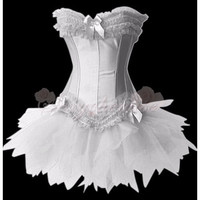 Cheap Strapless Lace-up With Busk Closure Ruffled Corset White [TQL120320029] - £19.59 :