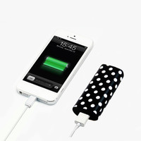 Black and White Polka Dots Pattern Light Weight Portable Power Bank Charger for iPhone and Samsung Android