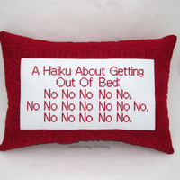 Funny Cross Stitch Pillow, Red Pillow, Haiku Lazy Quote