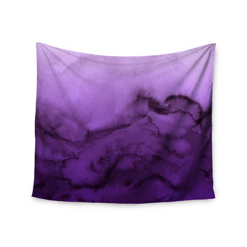 "Ebi Emporium ""Winter Waves 9"" Purple Abstract Wall Tapestry"
