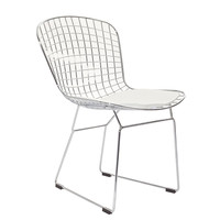 Bertoia Style Wire Side Chair in Silver Frame White
