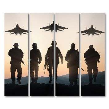 4 piece canvas military jet airplane army at sunset wall art canvas panel print