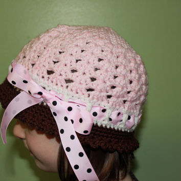 Crochet Ribbon Cloche Vintage Style Elegant Shell Hat  - Newborn, Baby, Toddler, Child, Adult, Crochet Hat, Photo Prop