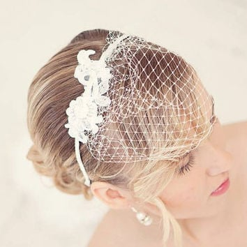 Birdcage veil, White birdcage veil fascinator, Bridal birdcage, Lace birdcage, Wedding hair, bridal hair accessories, Bridal hairpiece
