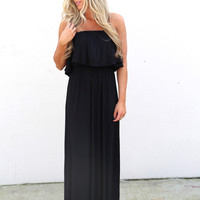 Basic Strapless Summer Maxi {Black}