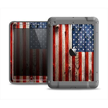 The Wooden Grungy American Flag Apple iPad Mini LifeProof Fre Case Skin Set